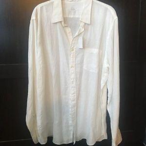 White Button Down Linen Shirt - NWT